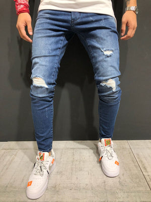 Blue Destroyed  Skinny Fit Denim A155 Streetwear Jeans - Sneakerjeans