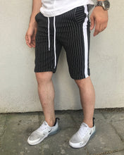 Load image into Gallery viewer, Black Striped Casual Short HB12 Streetwear Casual Shorts