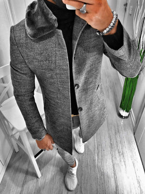 Gray Faux Fur Long Coat S126 Streetwear Mens Coat - Sneakerjeans