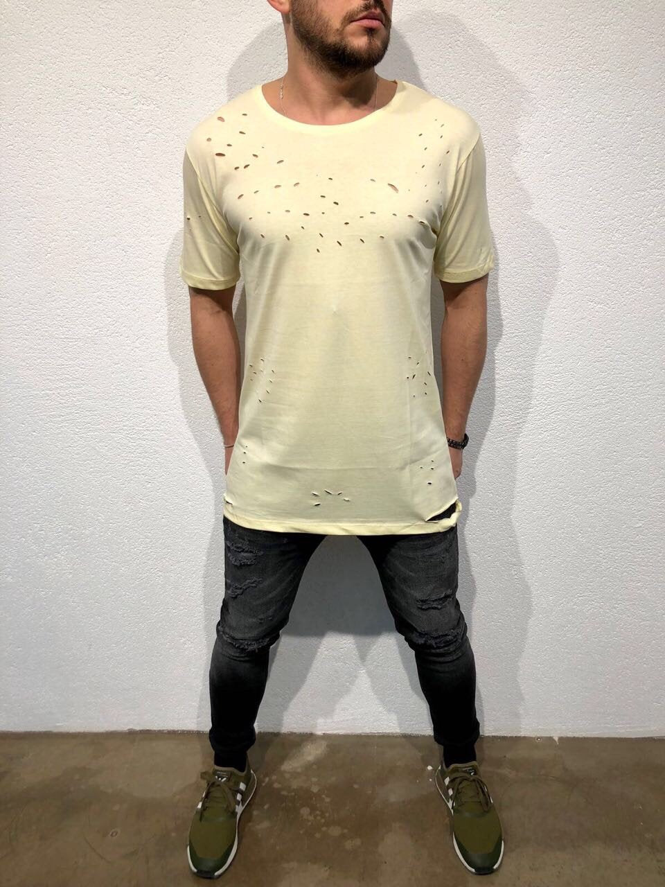 Yellow Hole Oversized T-Shirt B87 Streetwear T-Shirts - Sneakerjeans