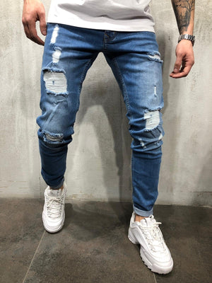 Blue Ripped Ultra Skinny Fit Denim AY308 Streetwear Jeans - Sneakerjeans