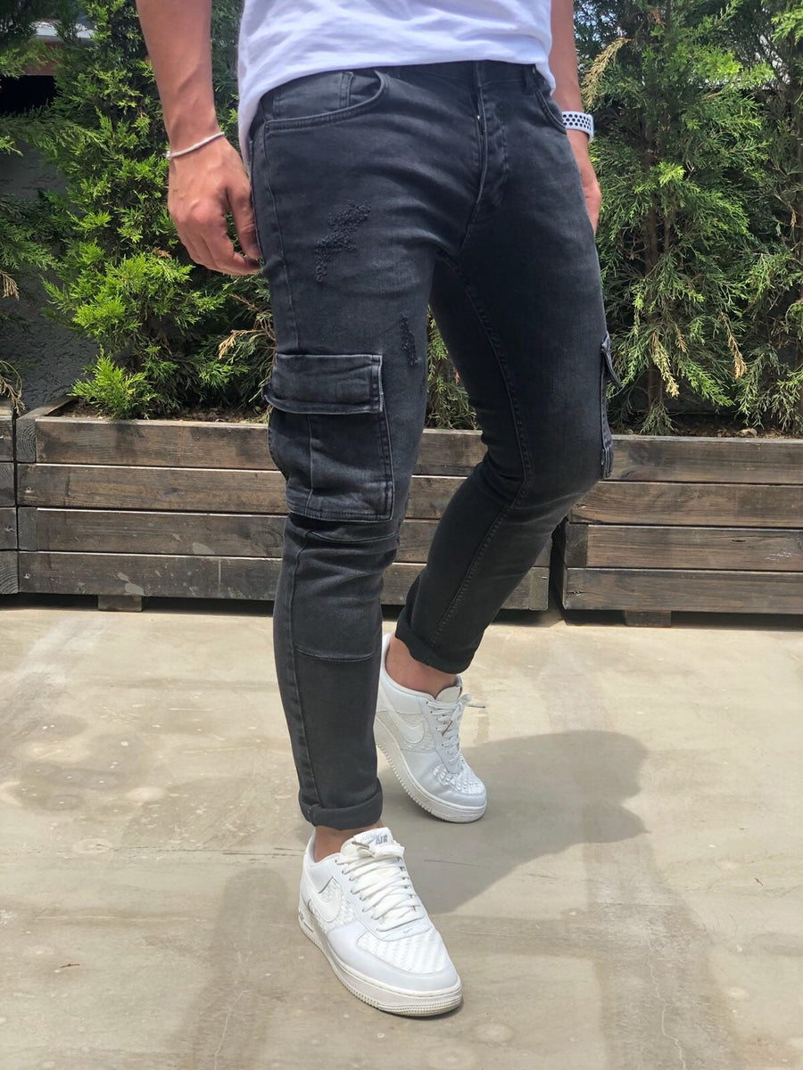 Black Cargo Pocket Skinny Fit Denim B188 Streetwear Baggy Jeans - Sneakerjeans