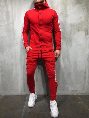 Red White Collar Striped Tracksuit Gymwear Set A202 Streetwear Tracksuit Jogger Set - Sneakerjeans