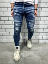 Load image into Gallery viewer, Blue Shredded Slim Fit Denim B40 Streetwear Denim Jeans - Sneakerjeans