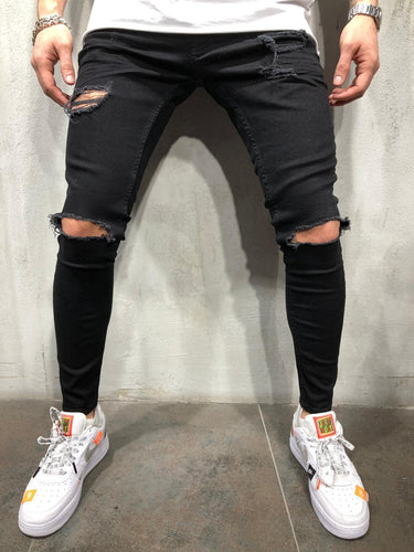 Black Ripped Ultra Skinny Fit Denim AY107 Streetwear Jeans