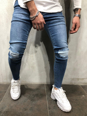 Blue Ripped Ultra Skinny Fit Denim A272 Streetwear Jeans - Sneakerjeans