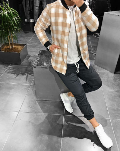 Cream White Checkered Jacket KB149 Streetwear Shearling