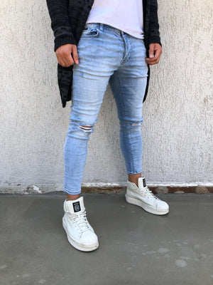 Light Blue Washed Distressed Skinny Fit Denim B266 Streetwear Jeans - Sneakerjeans