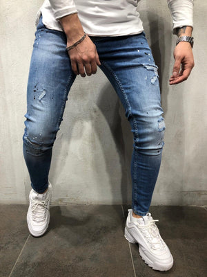 Blue Color Blobs Distressed Skinny Fit Denim A256 Streetwear Jeans - Sneakerjeans