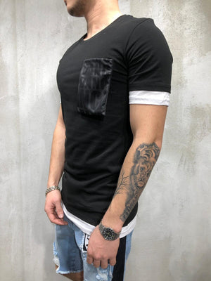 Black Big Front Pocket T-Shirt AY341 Streetwear T-Shirts - Sneakerjeans