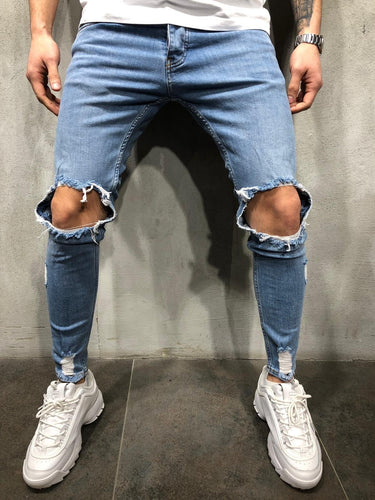 Blue Washed Ripped Ultra Skinny Fit Denim AY354 Streetwear Jeans