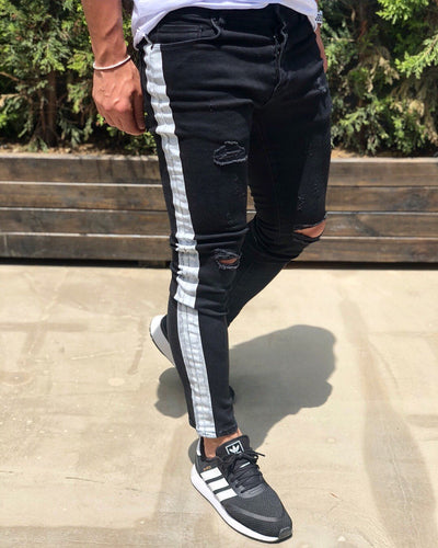Black Side Striped Skinny Fit Denim B190 Streetwear Baggy Jeans