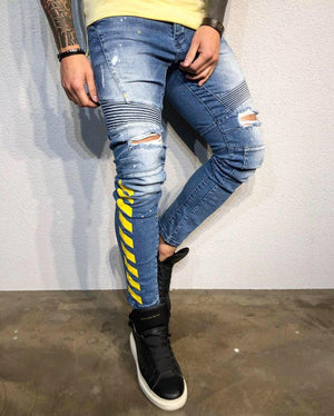 Printed Distressed Ultra Skinny Fit Biker Denim B332 Streetwear Jeans - Sneakerjeans