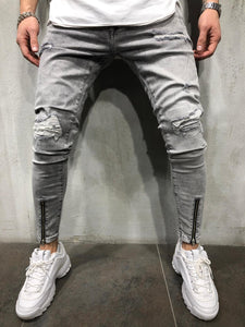 Gray Ankle Front Zip Distressed Ultra Skinny Fit Denim A276 Streetwear Jeans
