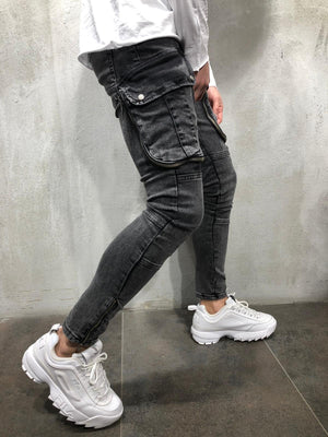 Black Big Pocket Ultra Skinny Fit Denim AY103 Streetwear Jeans - Sneakerjeans