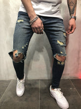 Load image into Gallery viewer, Vintage Blue Destroyed Slim Fit Denim A84 Streetwear Denim Jeans - Sneakerjeans