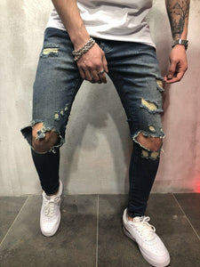 Vintage Blue Destroyed Slim Fit Denim A84 Streetwear Denim Jeans - Sneakerjeans