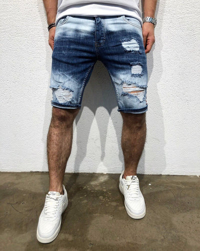 Navy Red Side Striped Slim Fit Denim Short B165 Streetwear Denim Shorts - Sneakerjeans