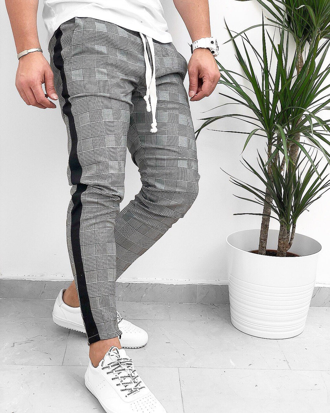 Gray Checkered Striped Jogger Pant KB123 Streetwear Jogger Pants