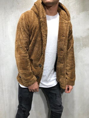 Brown Hooded Sherpa Jacket A290 Streetwear Sherpa Jacket - Sneakerjeans