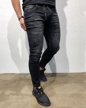Load image into Gallery viewer, Black Front Zipper Skinny Fit Denim B156 Streetwear Denim Jeans