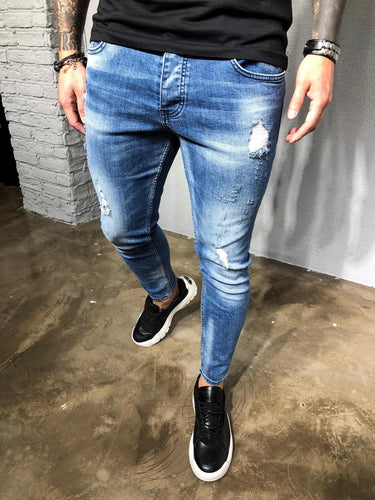 Blue Washed Distressed Denim BL228 Streetwear Baggy Jeans