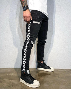 Printed Ripped Ultra Skinny Fit Denim BI-00411 Streetwear Jeans - Sneakerjeans