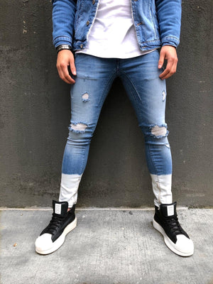Sneakerjeans - Blue White Ankle Ripped Ultra Skinny Jeans B323 - Sneakerjeans
