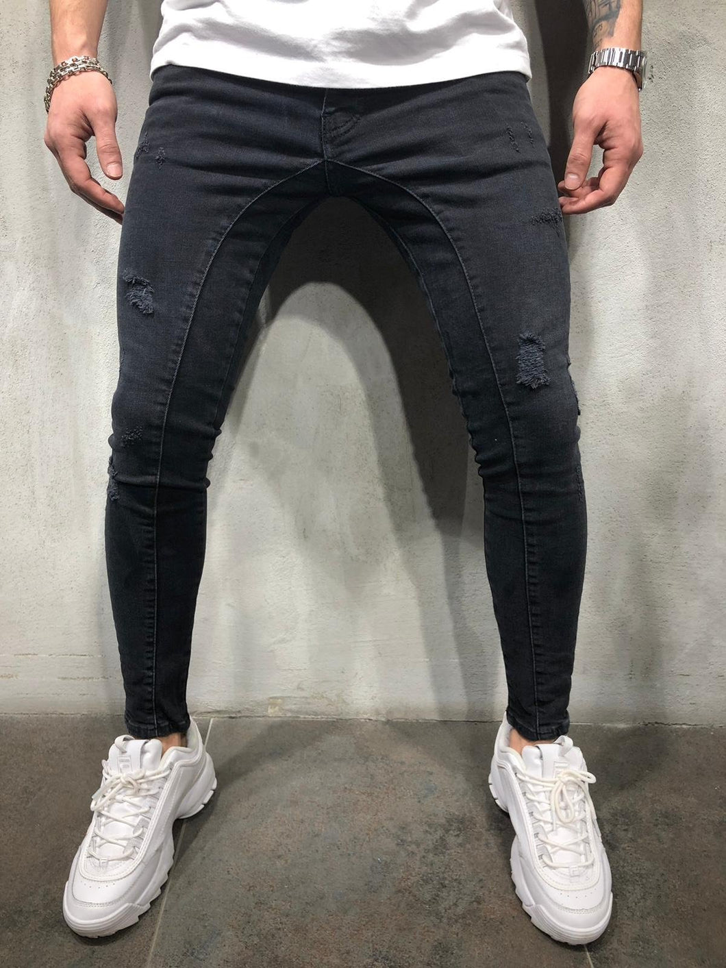 Black Distressed Skinny Fit Denim AY374 Streetwear Jeans