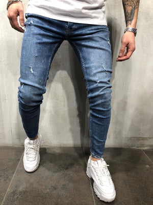 Blue Washed Ultra Skinny Fit Denim AY324 Streetwear Jeans - Sneakerjeans