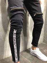 Load image into Gallery viewer, Black Front Zip Leg Side Stripe Slim Fit Denim A12 Streetwear Denim Jeans