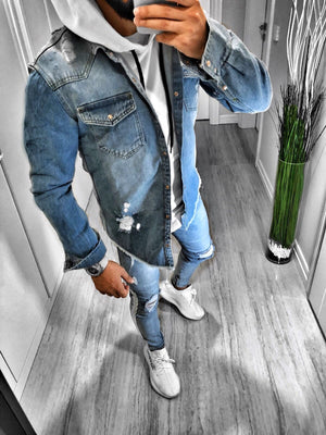 Washed Blue Ripped Denim Shirt S114 Streetwear Jeans Mens Shirt - Sneakerjeans