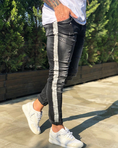 Black Side Striped Destroyed Skinny Fit Denim B212 Streetwear Jeans
