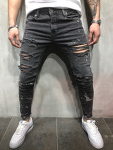 Load image into Gallery viewer, Gray Distressed Slim Fit Denim A86 Streetwear Denim Jeans