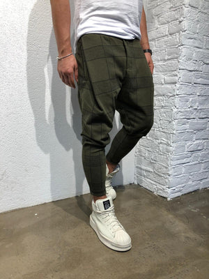 Khaki Checkered Jogger Pant B346 Streetwear Jogger Pants - Sneakerjeans