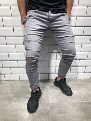 Light Gray Slim Fit Denim B106 Streetwear Denim Jeans - Sneakerjeans