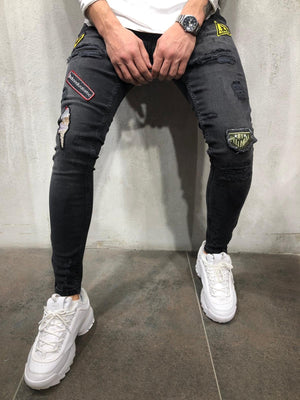 Sneakerjeans - Black Patched & Ripped Skinny Jeans A241 - Sneakerjeans