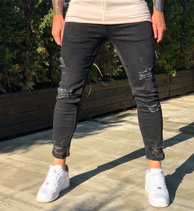 Black Distressed Skinny Fit Denim B262 Streetwear Jeans