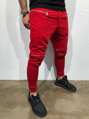 Red Knee Side Pocket Zipper Jogger Pant B173 Streetwear Jogger Pants - Sneakerjeans