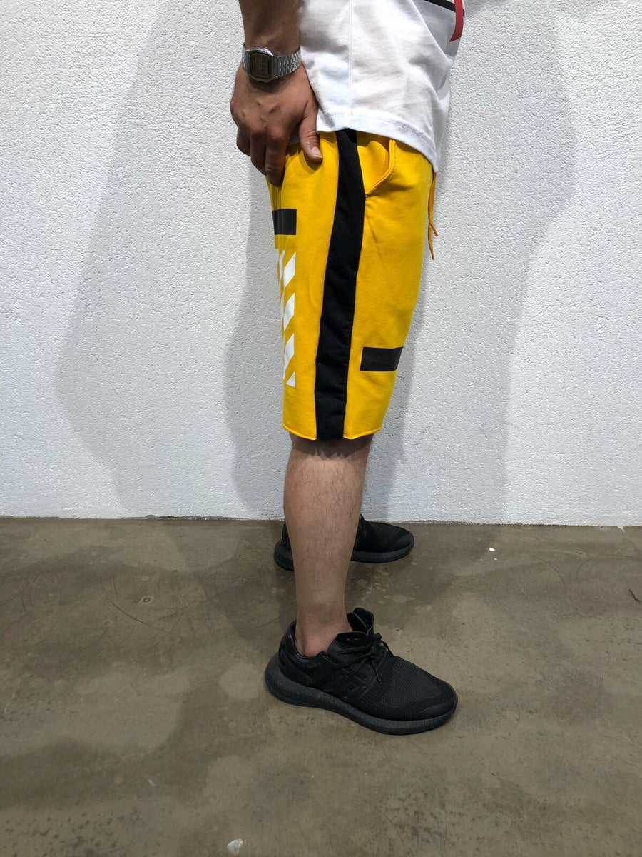 Yellow Black Striped Sweat Short B184 Streetwear Sweat Shorts - Sneakerjeans