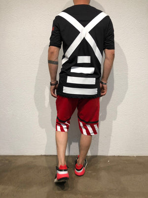 Red Striped Sweat Short B178 Streetwear Sweat Shorts - Sneakerjeans