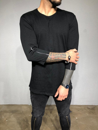 Black Back Zip Sleeve Zip Oversized Long Sleeve Shirt BL192 Streetwear T-Shirts