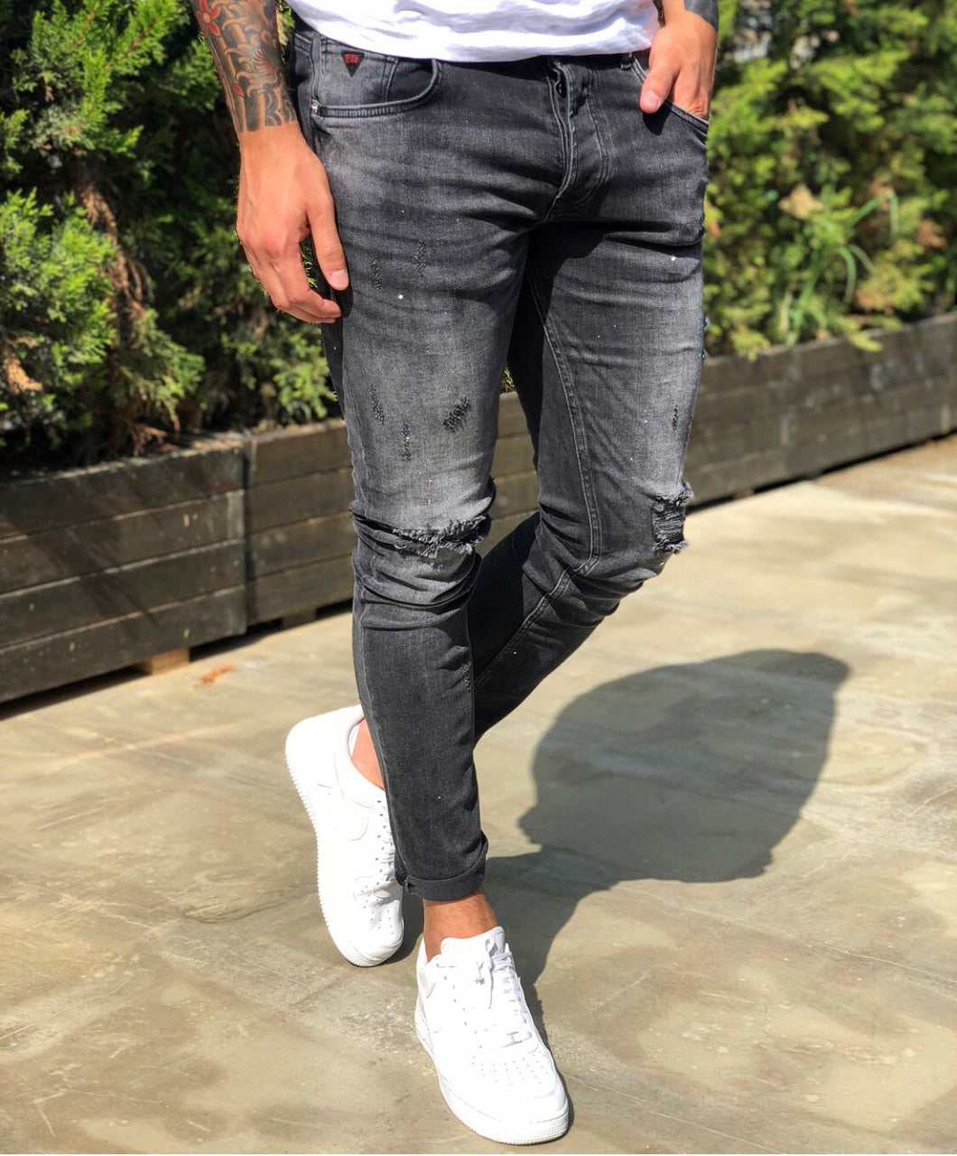 Gray Distressed Skinny Fit Denim B229 Streetwear Jeans