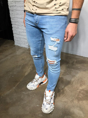 Light Blue Washed Ripped Denim BL256 Streetwear Jeans - Sneakerjeans