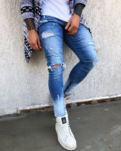 Load image into Gallery viewer, Two Colours Distressed Skinny Fit Denim B263 Streetwear Jeans