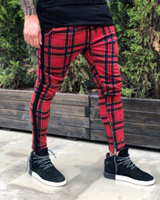 Load image into Gallery viewer, Red Side Striped Checkered Jogger Pant B215 Streetwear Jogger Pants