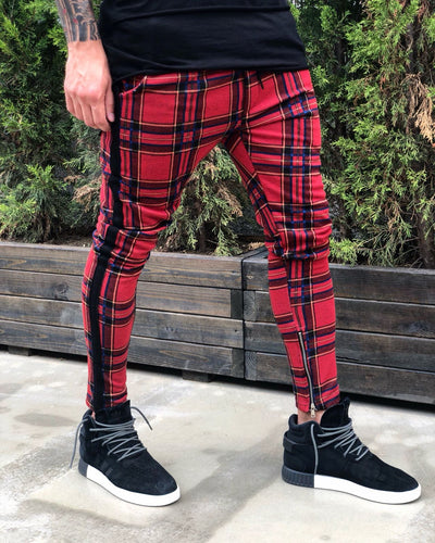 Red Side Striped Checkered Jogger Pant B215 Streetwear Jogger Pants