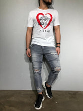 Load image into Gallery viewer, White Oversize Heart Printed T-Shirt BL170 Streetwear T-Shirts