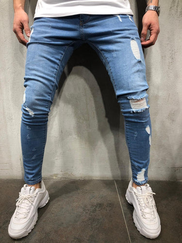 Blue Washed Distressed Ultra Skinny Fit Denim AY305 Streetwear Jeans