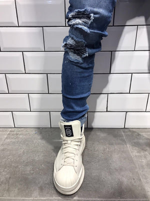 Blue Ripped Knee Slim Fit Jeans B17 Streetwear Jeans - Sneakerjeans